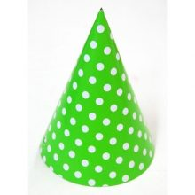 Lime Green & White Polka Dots Party Hats