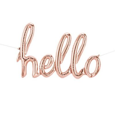 Rose Gold Hello Script Foil Balloon by North Star Balloons
