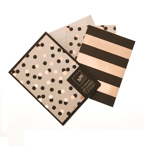 Black Gold Confetti & Stripe Notecards