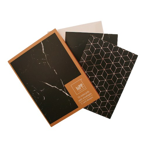 Black Marble & Copper Foil Notecards
