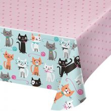 Purr-fect Party Table Cover for a cat or kitten party theme.