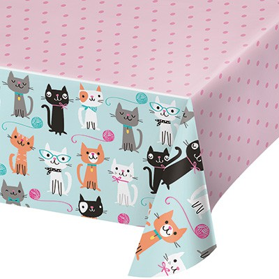 Purr-fect Party Table Cover for a cat or kitten party theme.  sc 1 st  Miss Mouse Boutique & Purr-fect Party Table Cover | Cat Plastic Tablecloth | Miss Mouse ...