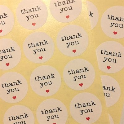 White Thank You Stickers for wedding favours nz.